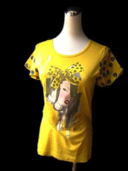 *Beauty*MOSCHINO芥末黃色絲質包袖棉T恤 I38 WE13