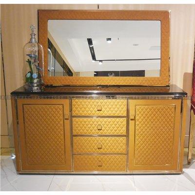 [紅蘋果傢俱] CT-046後現代餐廳系列 邊櫃 餐邊櫃 斗櫃  歐式 高檔 簡約 不銹鋼輕奢
