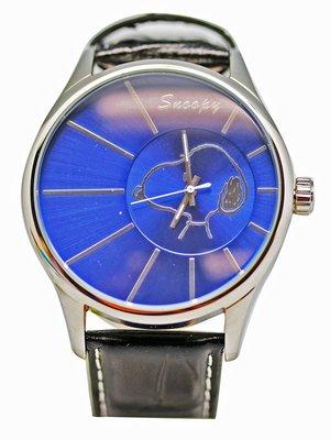 【卡漫迷】 Snoopy 大錶框 手錶 藍色 ㊣版 史努比 史奴比 皮革 男錶 女錶 中性錶 原價六折出清