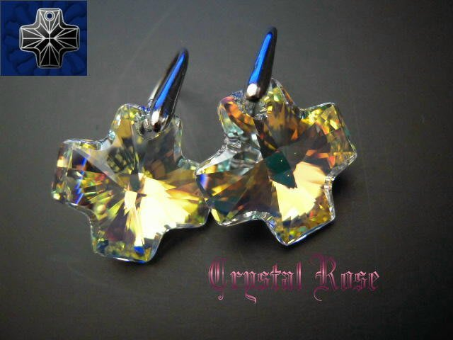 ※水晶玫瑰※ SWAROVSKI 瑞士十字水晶 進口鍍白金耳針式耳環(DD099)