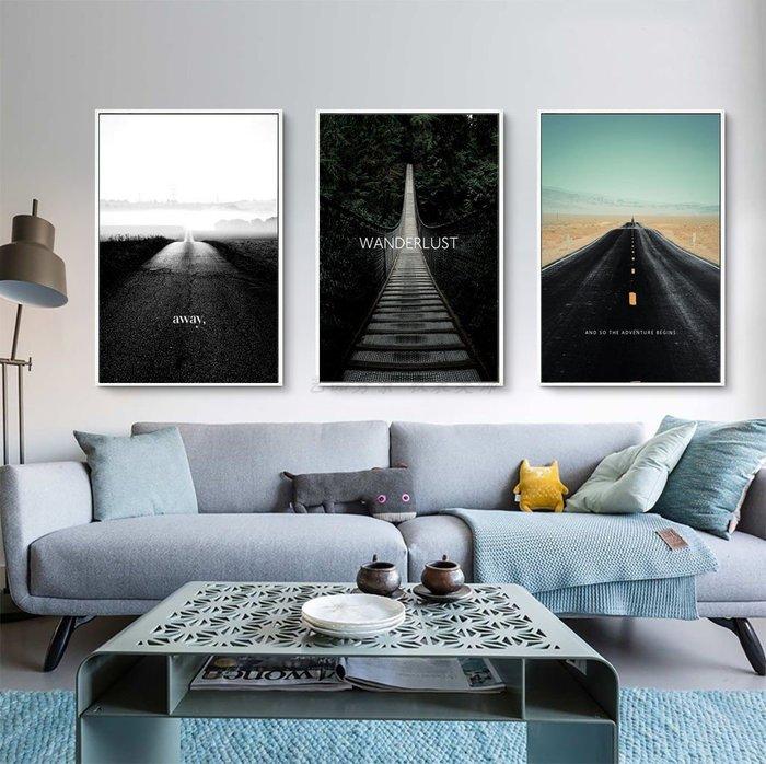 三幅一組油畫布 北歐一路前行風景 畫芯/畫布/30X40☺暖暖屋☺傢居藝術館