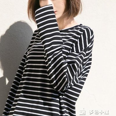 ZIHOPE 長袖T恤 條紋打底衫女黑白百搭學生長袖T恤正韓寬鬆上衣ZI812