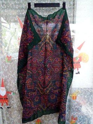 ~~櫻花雨~~monique valery 日本製 100%羊毛 墨綠色 變形蟲圖紋 民族風 大方巾