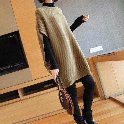 質感北歐風簡約長版針織衫 寬鬆大蝙蝠 落肩自由袖針織連身裙 艾爾莎【TAE8542】