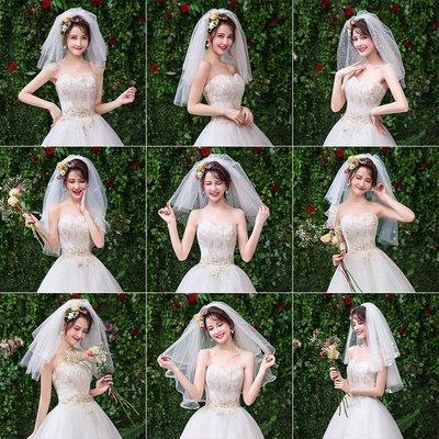 wuli西子的店--新娘短款頭紗女結婚婚紗配飾 2019新款旅拍白色森系頭紗頭飾超仙