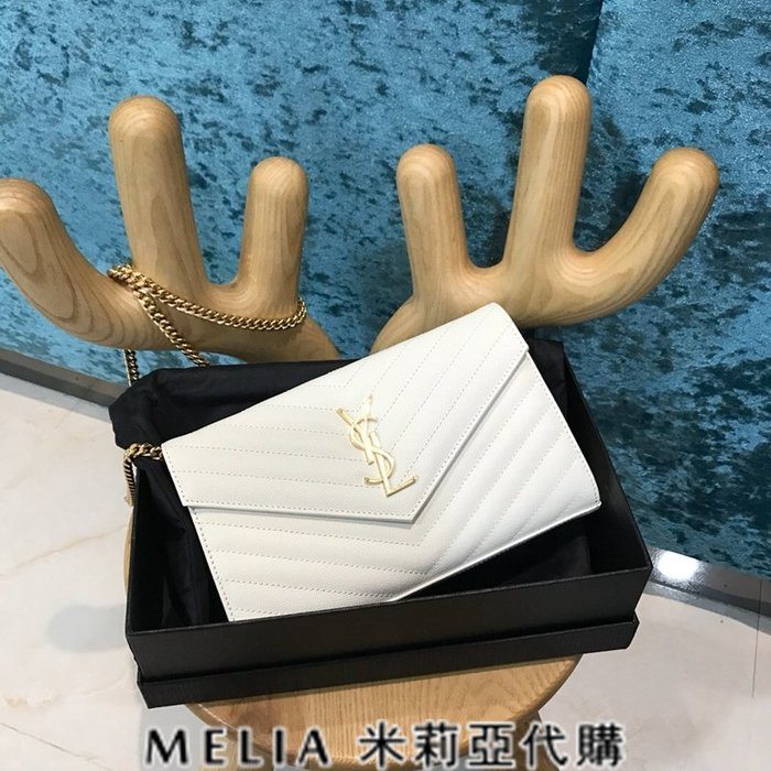 Melia 米莉亞代購 歐洲代購 Saint Laurent YSL 18ss 8月新品 背帶可拆當手拿包 白色金字
