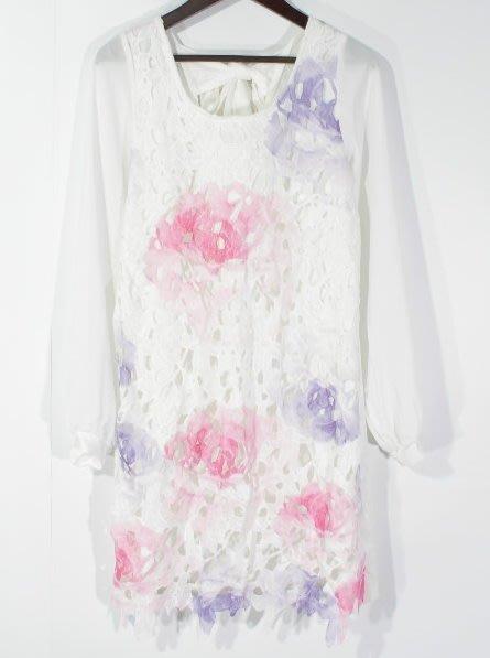【WildLady】  日本超美背面綁帶蕾絲純色 花色連身裙 洋裝op