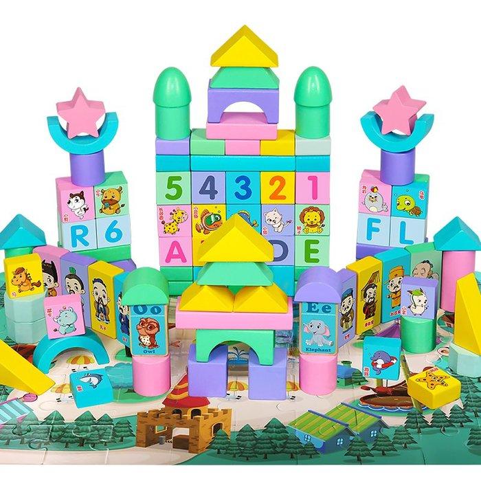 衣萊時尚-熱賣款 兒童積木玩具3-6周歲女孩寶寶1-2歲嬰兒益智男孩木頭拼裝幼兒早教