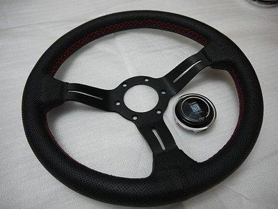 NARDI 330MM小凹真皮黑色紅線方向盤 EG6 EK9 FD2 DC5 FIT K5 K6 K7 K8 K9 Ci