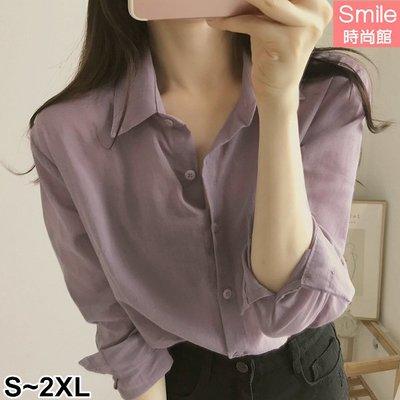 【V2988】SMILE-輕尚恬氛.純色素面翻領長袖襯衫上衣