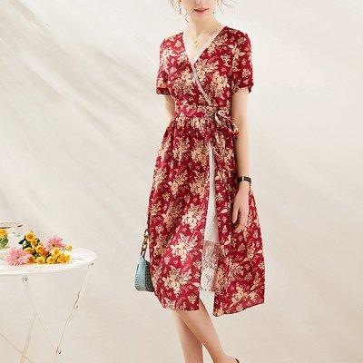♈尹愛服飾♈高端3007309性感開叉印花連衣裙氣質優雅顯瘦
