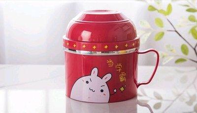 食品級㊣不銹鋼隔熱餐碗 韓式三用杯 快餐杯 兒童餐具 泡麵碗 學生大鋼杯《當學霸》+贈 匙筷