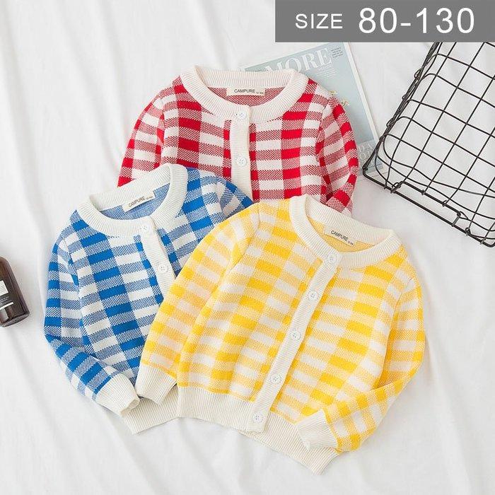 韓版女童風衣外套。ROUROU童裝。春秋中小童女童格子針織外套 0233-271