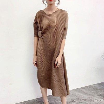 中袖洋 裝 連身 長裙-壓褶寬鬆復古純色女裙子5色73yf3[獨家進口][米蘭精品]
