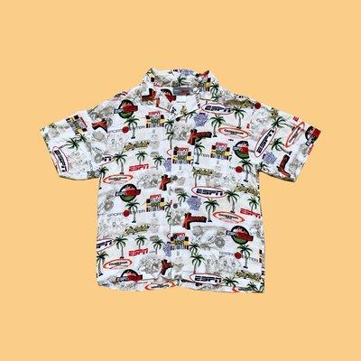 JCI:Vintage 90s 企業物 ESPN 體育台 夏威夷衫 NBA / MLB / 古著 / 花襯衫 / 大聯盟