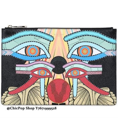 【ChicPop】 GIVENCHY Egyptian 印刷圖案 coated 手拿包 16秋冬款 黑色