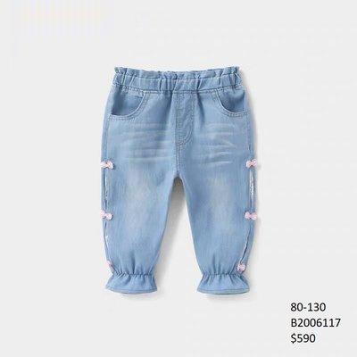 【Girl】 JC BABY 甜美蝴蝶結蕾絲牛仔縮口褲(藍色) #B2006117