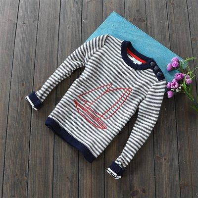 *麗綺童裝* 外貿帆船條紋圓領毛衣(T1-095)