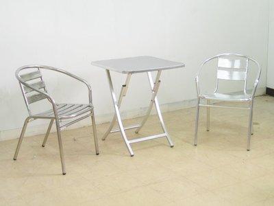 ❖時代歐❖【庭園休閒桌椅】不鏽鋼面鋁腳折合桌、鋁椅 不鏽椅