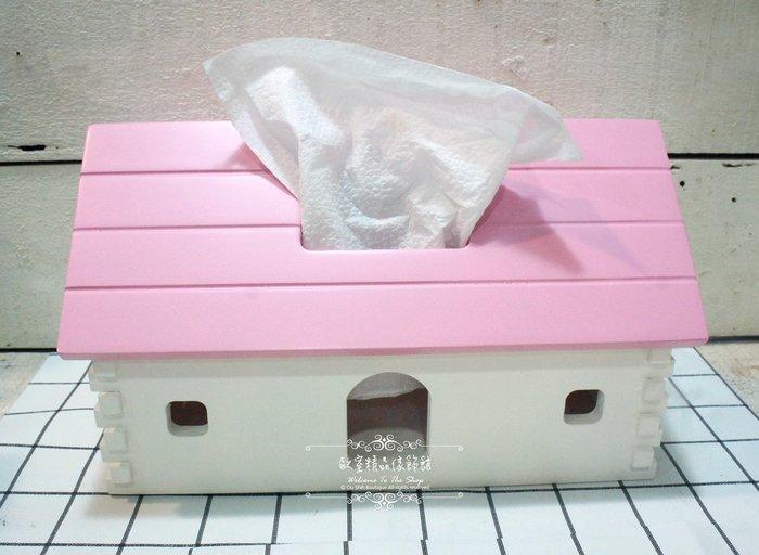 ~*歐室精品傢飾館*~法式鄉村 簡約 木製 屋型 粉白 烤漆 桌上型 面紙盒 小木屋 置物 收納盒 擺飾~新款上市~