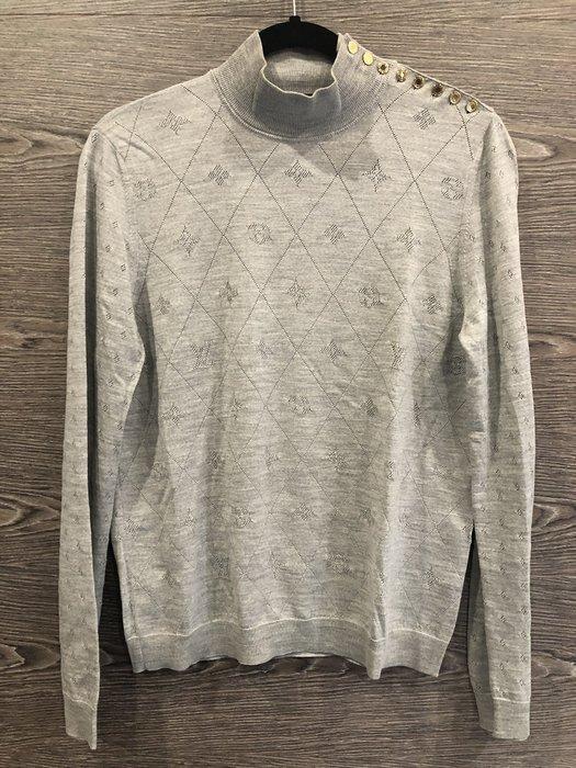*金選名店*Louis Vuitton*LV*灰色經典花紋簍空羊毛彈性長袖上衣 L號