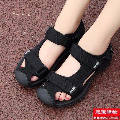 越南大碼女涼鞋包頭平底魔術貼耐磨舒適男...