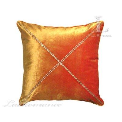 【芮洛蔓 La Romance】 奢華系列X字形水鑽抱枕 - 亮橘色