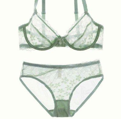 粉粉大尺碼~CD07加大碼性感蕾絲超薄內衣套裝。95D~70A(綠色賣完)