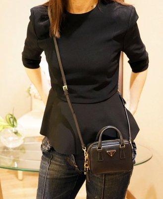 Prada BL0705 Saffiano Lux Mini Shoulder Bag 迷你 斜背包 黑