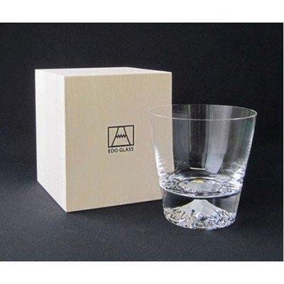日本工藝精品 田島硝子 手工吹製富士山威士忌杯  晶瑩剔透水杯裡面可看到精雕的富士山白雪皚皚的意象 品茗起來別有風情