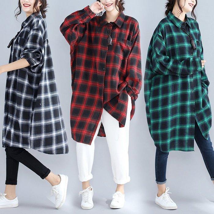襯衫 長版格紋寬鬆長袖襯衫L~XL三色Q3265【BU GU時尚布谷】