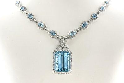 18K白金鑽石海藍寶石頸鏈