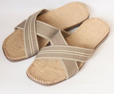 就愛夾腳拖!天然亞麻拖鞋,吸汗透氣,簡單自然舒適 ~ 男款,X雙線淺棕 40~41 42~43 44~45