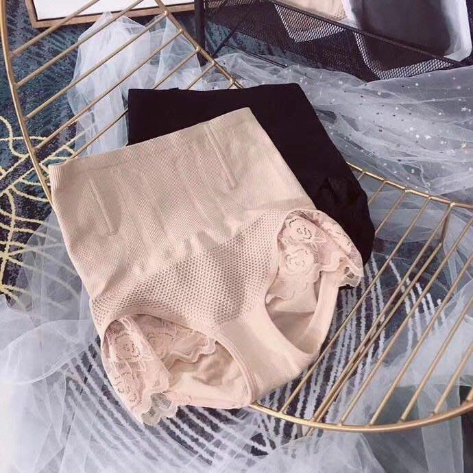 内褲 (NMZ0832) 日本訂單 高腰魚骨支撐3D立體式包覆蕾絲内褲 產後收腹提臀内褲  無痕内褲