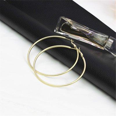 Lissom韓國代購~e 家懶人925銀針歐美磨砂氣質夸張大圈圈女個性簡約耳圈冷淡風