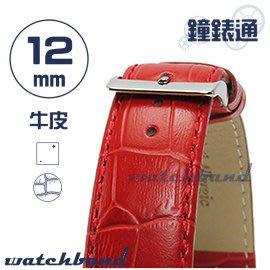 【鐘錶通】C1.21I《亮彩系列》鱷魚格紋-12mm 烈焰紅┝手錶錶帶/皮帶/牛皮錶帶┥