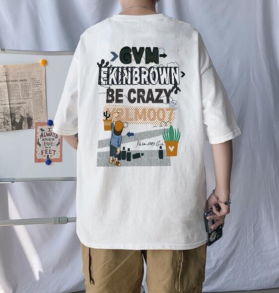 FINDSENSE X 男款 時尚 寬鬆舒適 男裝寬 日系中性休閑情侶大碼 短袖T恤男