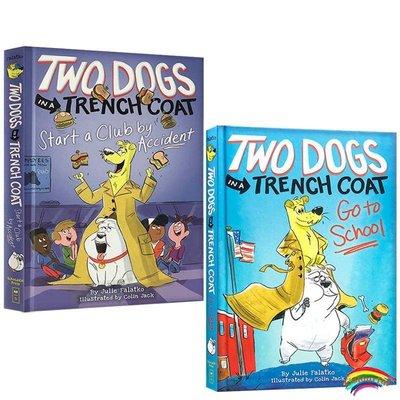 英文原版橋梁章節書2冊Two Dogs in a Trench Coat Go to School /TWO DOGS IN A TRENCH COAT STA