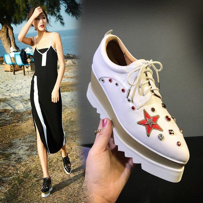 Fashion*厚底鞋 松糕鞋 真皮尖頭坡跟系帶鞋 白色英倫高跟星星鞋 白色*黑色 33-40碼