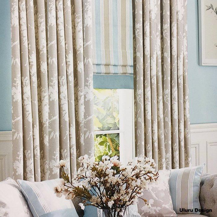 簡約北歐風格 清新葉子窗簾 傳統褶 (3折) S勾 對開式 145x250 DIY窗簾 換窗簾 窗簾布 成品窗簾