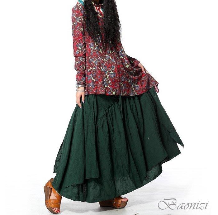 《現貨 免運》 天然棉料 時尚民族風刺繡半身裙 腰果花紋繡花半身裙 不規則長裙  寶妮子