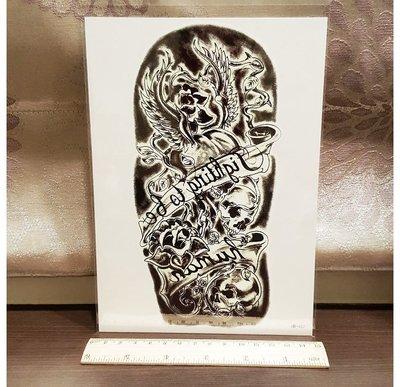 【萌古屋】美式骷髏英文黑底手臂大圖 - 男女防水紋身貼紙刺青貼紙 HB-457