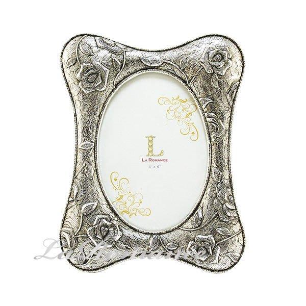 """【芮洛蔓 La Romance】古銀布紋玫瑰4""""x6""""相框 (小) / 相本 / 情人節 / 紀念日 / 結婚禮物"""