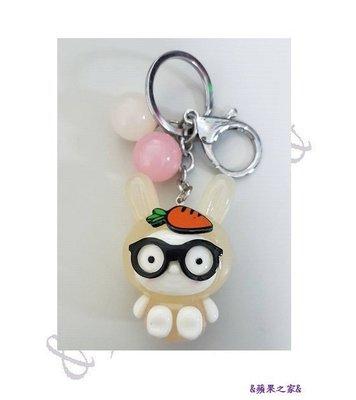 &蘋果之家&超萌-眼鏡兔鑰匙圈-米黃色