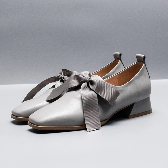 NETSHOP collection  瑪麗珍復古粗跟緞帶蝴蝶結告跟鞋  三色