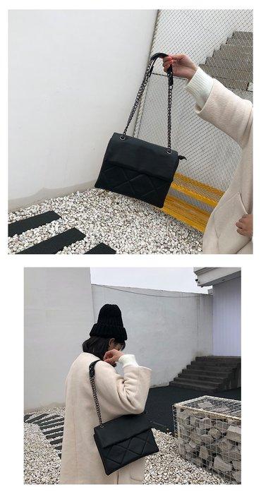 現貨1個-女包包2019早春新款小香風鏈條大菱格大包包單肩斜背大包