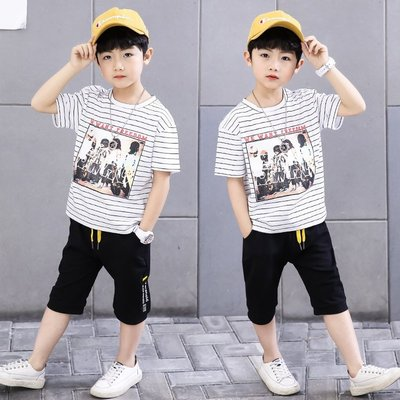 【尚佰惠】男童套裝夏裝2019新款6歲男孩韓版時尚潮流10中大童洋氣帥氣短袖8