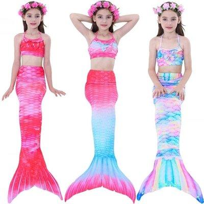 兒童美人魚泳衣女孩公主人魚尾巴游泳衣大童女童魚尾裙泳裝裙式潮