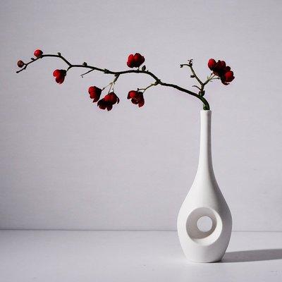 熱賣泥摳創意家居軟裝飾品擺件歐式樣板房客廳小口白色陶瓷花瓶干花插#擺件#陶瓷#北歐