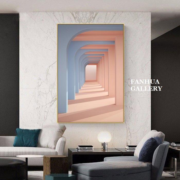 C - R - A - Z - Y - T - O - W - N 粉藍色系北歐現代客廳裝飾畫建築城市空間長廊藝術掛畫抽象落地畫商空美學空間設計師款高檔時尚牆畫